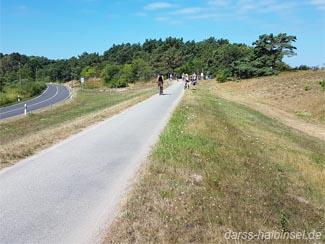 Radfahren auf dem Deich an der Ostsee